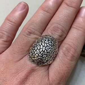 Big Bold Textured Nature Ring Size 10